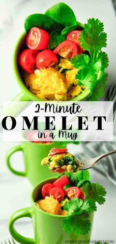 Omelet in a Mug is a hearty and healthy meal, filled with protein and vegetables. This Mug Omelet is a quick breakfast that will help keep you energized and full until lunch. Best Breakfast Recipes, Savory Breakfast, Breakfast Time, Brunch Recipes, Dinner Recipes, Breakfast Ideas, Mug Recipes, Healthy Recipes, Healthy Dinners