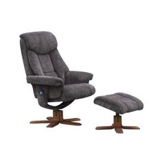 Global Furniture Alliance  Exmouth Velour Fabric Swivel Recliner & Footstool with Massage in Charcoal