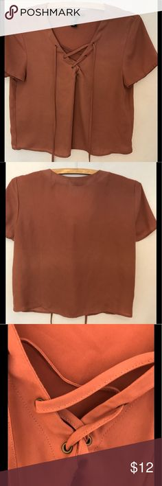 Lace-up Rust Chiffon Blouse Chiffon, cap-sleeve tie-up crop top Forever 21 Tops Blouses