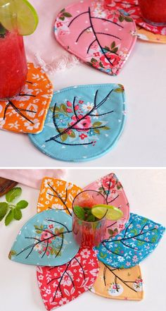Quilted Leaf Coaster - Tutorial Quilting Tutorial # patchwork quilts for beginners ideas Small Sewing Projects, Sewing Projects For Beginners, Sewing Hacks, Sewing Crafts, Craft Projects, Sewing Tips, Craft Ideas, Quilting Tutorials, Quilting Projects
