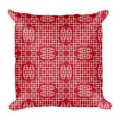 CHINESE GEOMETRIC PATTERN (CARDINAL, CREAM) PILLOW