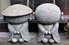 BUDDHA~chibi Jizo statues, I think that these two, found in front of a restaurant from Taito-ku, Tokyo, Baby Buddha, Little Buddha, Sculptures Céramiques, Sculpture Art, Japanese Culture, Japanese Art, Art Asiatique, Pottery Sculpture, Deities