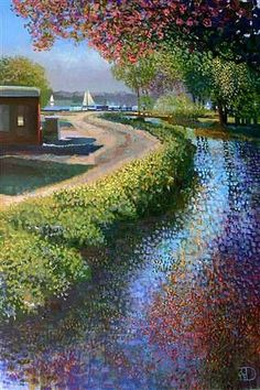 """Path to the Lake"" by Ton Dubbeldam, original oil on canvas x The magic of Pointillism with a touch of Klimt. Landscape Art, Landscape Paintings, Gustav Klimt, Stippling Art, Dutch Painters, Dot Painting, Art Techniques, Lovers Art, New Art"