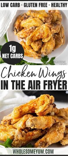 Crispy Air Fryer Chicken Wings Recipe - A step-by-step guide for how to cook chicken wings in an air fryer! Includes special method for extra CRISPY air fryer chicken wings, and how to make frozen air fryer wings. #wholesomeyum #keto #lowcarb #dinner #chickenrecipe