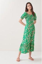 Green Midi Dress, Floral Midi Dress, Summer Wardrobe, Short Sleeve Dresses, Feminine, Summer Dresses, Beautiful, Prints, Cotton