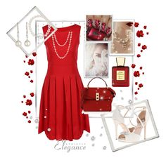 """""""Night out in red"""" by vst063090 ❤ liked on Polyvore featuring Nadri, Red Camel, Bella Bellissima, Henri Bendel, Badgley Mischka and Honora"""