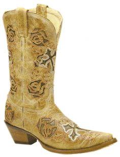 Ladies Antique Saddle/Brown Rose And Cross R2460