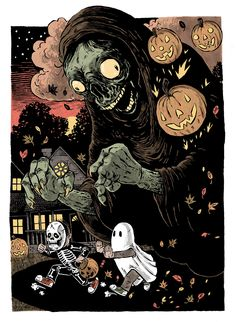 Prints and Inks from freelance Illustrator Sam Heimer by samheimer Halloween Illustration, Halloween Drawings, Halloween Prints, Halloween Pictures, Halloween 2016, Halloween Artwork, Halloween History, Spooky Scary, Scary Halloween