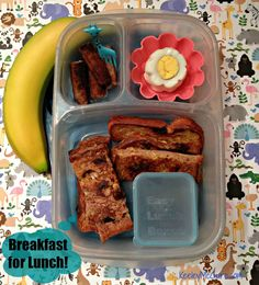 Keeley McGuire: Lunch Made Easy: MOMables Monday - Breakfast for School! Could substitute allergen-free pancakes rolled up for the french toast or waffle sticks.