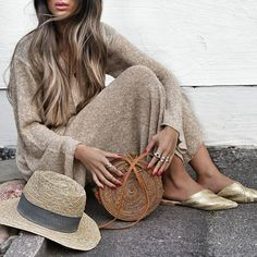 Knitted Two Piece & Gold Sliders Gold Slippers, Brown Eyed Girls, Everyday Fashion, Spring Summer Fashion, Ideias Fashion, What To Wear, Asos, Stylish, My Style