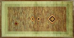Modern Collection Gabbeh Multicolor/Green 3'x6' Hand Knotted Wool Area Rug