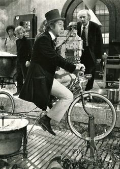 """""""Gene Wilder rides a bike. In springtime, the only pretty ring time."""" :: Willy Wonka and the Chocolate Factory, Paramount, Willy Wonka, Movies Showing, Movies And Tv Shows, Movie Stars, Movie Tv, Wonka Chocolate Factory, Films Cinema, Black White, Classic Movies"""