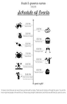 Wedding Program with Timeline and Icons - Printable Wedding Schedule, Wedding Day Timeline, Wedding Prep, Budget Wedding, Wedding Planner, Our Wedding, Dream Wedding, Wedding Planning Checklist, Perfect Wedding