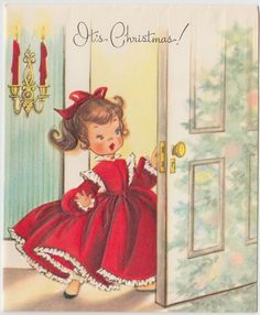 Vintage Greeting Card Christmas Tree Reflection Cute Girl Elizabeth Voss J886 | eBay