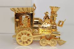 "Danbury Mint 24kt Gold Christmas Tree Ornament - 1993 ""Santa's Express"""