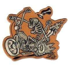 Customize your favorite jacket or shirt with this retro Shawn Dickinson Bone Daddy iron on patch! Get yours at Purple Leopard Boutique. Cool Patches, Pin And Patches, Iron On Patches, Biker Patches, Motorcycle Art, Bike Art, Busse, Patch Design, Iron On Applique