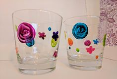 Verres colorés par CreationFarfelue sur Etsy