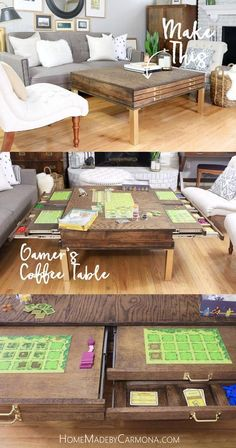 Get free build plans to make this stunning Gamer's Coffee Table! // Large surface, plus individual pullout game boards, storage compartment below that, and puzzle compartment at the bottom for the kids, AND stylish to satisfy the wife! // Home Made Board Game Storage, Board Game Table, Game Boards, Game Tables, Diy Board Game, Board Game Organization, Coffee Table Games, Diy Coffee Table, Coffee Table Storage