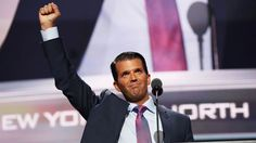 Donald Trump Junior gestures to the crowd after delivering his speech