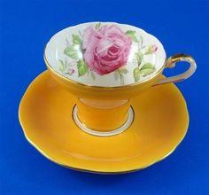 Yolk Yellow Corset Shaped with Huge Pink Rose Aynsley Tea Cup and Saucer Set