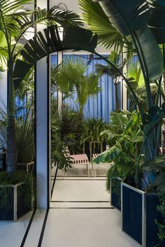 The project by DIMORESTUDIO for the Design Miami/Basel design fair proposes a place inhabiting an indoor & outdoor space. Indoor Garden, Indoor Plants, Indoor Outdoor, Blue Garden Furniture, Jungle Room, Architect Design, Plant Decor, Outdoor Spaces, Garden Design