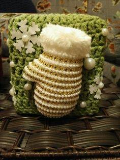 Crochet Tissue Box Cover - Winter Theme