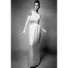 1967 - Balenciaga white crepe & silver embroideries dress