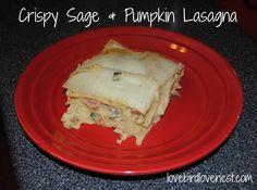 Crispy Sage & Pumpkin Lasagna | lovebirdlovenest.com