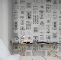 A favorite wallpaper from Rebel Walls, Architect! Painting Wallpaper, Wall Wallpaper, Wall Design, House Design, Creative Walls, Wall Patterns, White Walls, Home Decor Inspiration, Interior Styling