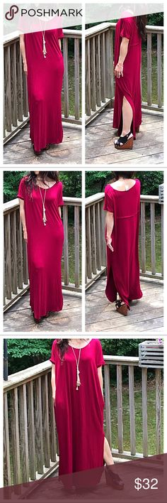 burgundy loose fit dress Beautiful loose fit side pockets and side slot maxi dress PLEASE Use the Poshmark new option you can purchase and it will give you the option to pick the size you want ( all sizes are available) BUNDLE and save 10% ( no trades price is firm unless bundled) Dresses Maxi