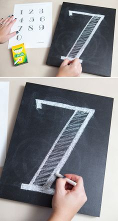 DIY | chalkboard table number pictures