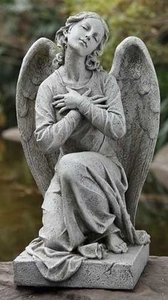 Kneeling Praying Angel Garden Statuary Large Size From Joseph Studios