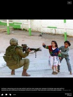 Palestinian kids face so much fear yet they have no say. What monster points a gun st children?