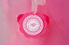 Birdie Themed FAVOR TAGS, Bird Birthday Party Decorations, Thank You Tags, Gift Tags, Hang Tags in Hot & Light Pink