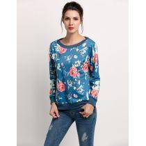 Fashion Ladies Women Plus Casual Long Sleeve Floral Loose Leisure Sports Tops Hoodie Sweatshirt