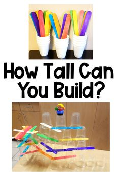 Grab some cups and sticks and you are ready for an awesome STEM building challenge for kids! If you are looking for activities for kids at home, this is a great one to keep kids busy and thinking. #activitiesforkids #activitiesforkidsathome #buildingchallengesforkids #STEMactivitieselementary Activities For 6 Year Olds, Kids Activities At Home, Preschool Activities, Stem Preschool, Babysitting Activities, Steam Activities, Indoor Activities, Lessons For Kids, Projects For Kids
