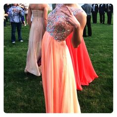Prom dress Only have worn this once! in perfect condition! open back, & crystals on the whole top! Dresses