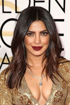 Another two-tone look, Priyanka Chopra's strands at the 2017 Golden Globes fade from a rich chocolate brown to a warm chestnut. Not quite red, not quite brown, this in-between color is certainly something to bookmark.