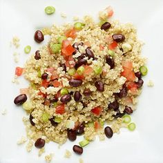 Energy-Revving Quinoa: Feeling sluggish? #Quinoa keeps you energized thanks to a hearty helping of iron, magnesium, and fiber. Plus, protein-packed black beans in this #recipe keep you feeling full and satisfied until your next #meal. healthywholegrains | Health.com