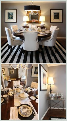 Dining room inspiration....grey walls, chandelier with crystals, upholstered white chairs, strong accent rug