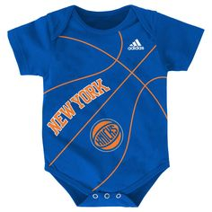 New York Knicks baby creeper bears team logo in screen print on front of bodysuit with basketball striping accents. Baby Boy Basketball, New York Basketball, Newborn Outfits, Baby Boy Outfits, Kids Outfits, One Piece Bodysuit, Baby & Toddler Clothing, Cool Baby Stuff, Baby Fever