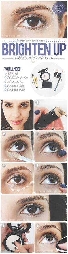 Under Eye Circles  Steps: 1- sweep concealer to area using brush 2- blend using ring finger 3- dot highlighter just below concealer area and blend 4- PRESS lose powder