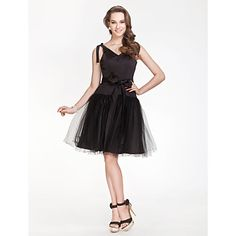 V-neck A-line Satin And Tulle Bridesmaid Dress