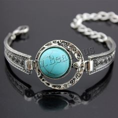 Zinc Alloy Bracelet, with Turquoise, with 5cm extender chain, Flat Round, antique silver color plated, lead & cadmium free, 45mm, Length:Approx 7.5 Inch, 3Strands/Bag,china wholesale jewelry beads