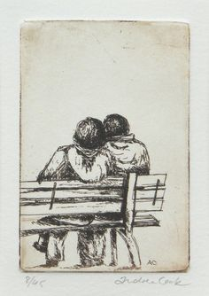original etching of a romantic couple on a park bench by atelier28,
