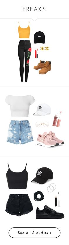 """""""F.R.E.A.K.S."""" by isthisfangirlonfire ❤ liked on Polyvore featuring LES (ART)ISTS, Timberland, Topshop, Chanel, MAC Cosmetics, adidas, NIKE, rag & bone/JEAN, Helmut Lang and Charlotte Russe"""
