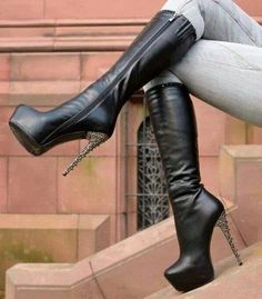 Classy Black Rivets Stiletto Boots Platform Mid-calf Boots for Women you best choice for Date, Engagement -TOP Design by FSJ Thigh High Boots Heels, Stiletto Boots, Black High Heels, Heeled Boots, Shoe Boots, Calf Boots, Stylish Boots For Women, Heel Boots For Women, Beige Boots