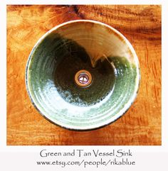 Green and Nutmeg Pottery Vessel Sink by rikablue on Etsy, $348.00