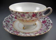 Yada China Made in Japan Vintage Three Footed Tea Cup and Saucer Gold Accent
