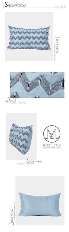 MISS LAPIN简约现代/样板房靠包靠垫抱枕/蓝色立体手工波纹腰-淘宝网